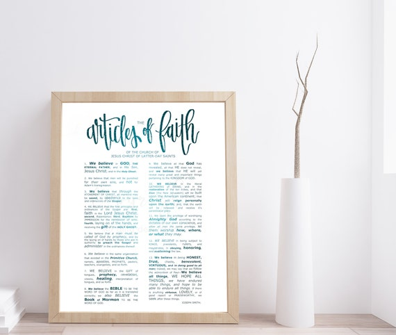 Articles of Faith, Printable JPG Files, Engineer Print, Articles of Faith Calligraphy, Modern LDS Sign, The Church of Jesus Christ, Large