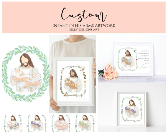 Custom, Personalize, Christ Holding Baby, Change Blanket Color, Skin Tone, Wreath, Grieving Gift, Custom Gift, Personalized Gift, Jesus Art