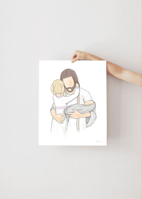 Sympathy Gift, Sympathy Art, Christ Art, Jesus Art, Christ and Children, Sympathy Gify, Bereavement Art, Bereavement Gift, Loss, Loss Gift