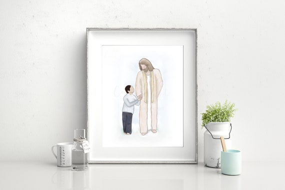 Boy Walking With Jesus, Christ's Footsteps, Jesus Christ Painting, Digital Painting, Hand Drawn Art, Boy With Jesus, Christ Printable Art