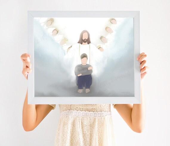 Christ Art, Depression Gift, Uplift, Christ Art, Christian Art, Light of Christ, Trials, Obstacles, Angels, Angel, Overcome, Hope, Motivate