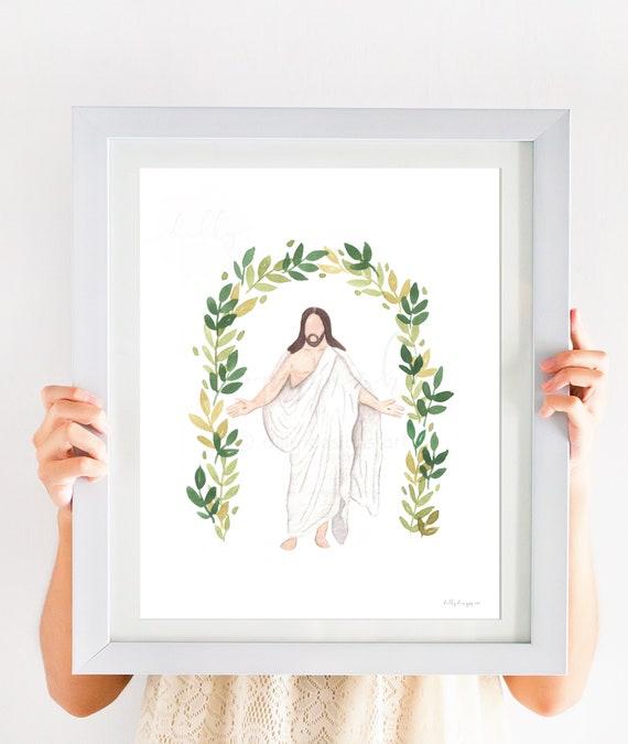 Jesus Resurrection, Jesus Christ Watercolor, Jesus Printable, Christus, Christ Resurrection, Easter, Calvary, Christ's Resurrection, Artwork