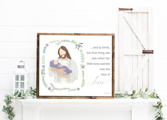 Jesus and Baby, Face of Jesus Quote, Miscarriage Gift, Stillbirth Gift, Stillborn Gift, Christian Memorial, Miscarriage Memorial, Keepsake