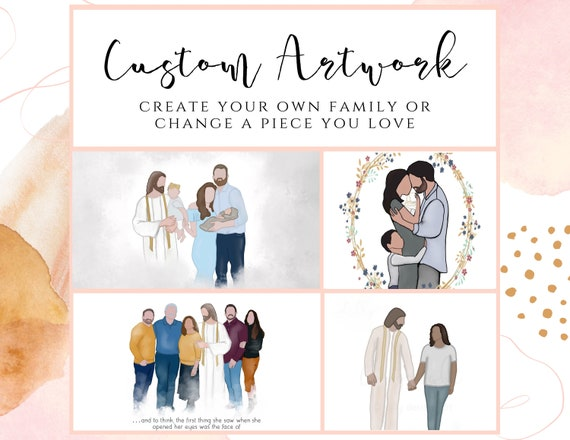 Custom Family Artwork, Customize Printable Art, Faceless Family Portrait, Digital Watercolor, Custom Hand Painted Gift, Custom Family Orders