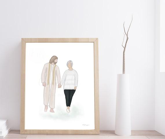 Christ Art, Christ Walking, Christian Art, Jesus Art, Bereavement Art, Grandma Funeral, Mom Funeral, Wife Funeral, Depression Gift, Uplift