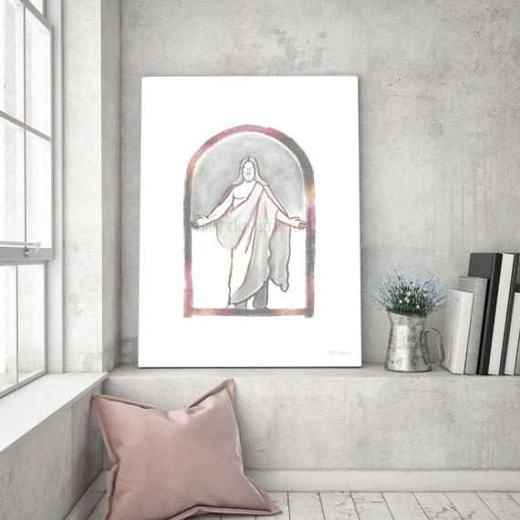 LDS Art, New Symbol, Christ Arms Open, Jesus Arms Open, Rose Gray, Jesus Watercolor, Digital, Jesus Art, Christ Art, Christ Painting, Jesus