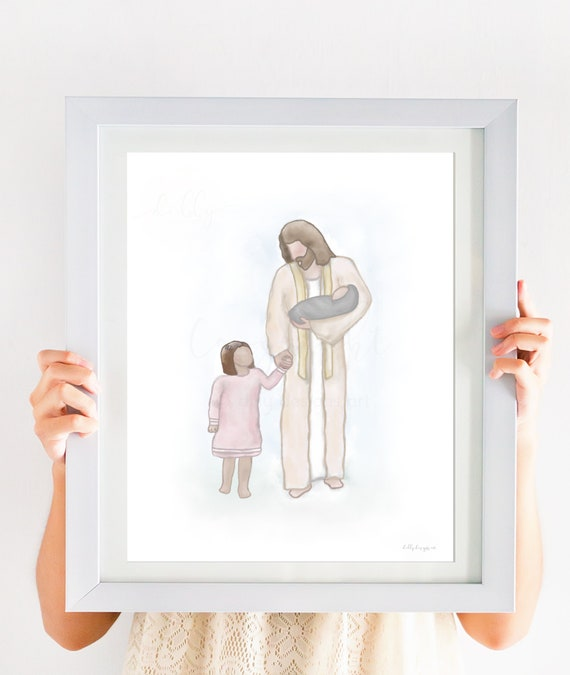 Baby Loss Art, Siblings With Jesus, Children With Christ, Christ Holding Children, Faith Artwork, Jesus Christ, Savior, Printable Art, Baby