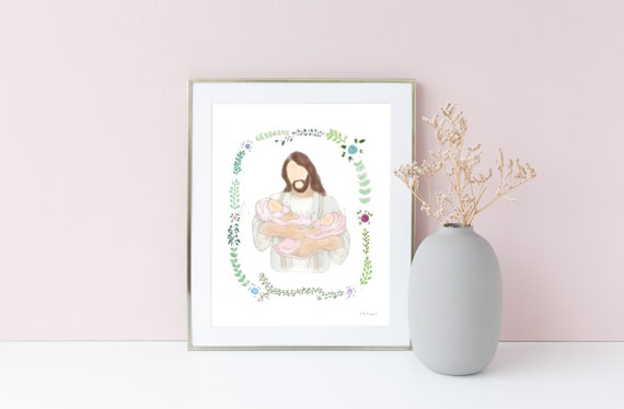 Girl Twin Loss, Twin Loss Gift, Girl Twin Memorial, Memorial Printable, Memorial Artwork, Christ and Babies, Babies With Christ, Multiples