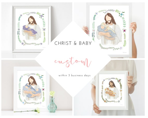 Custom, Personalize, Christ Holding Baby, Receive Within 3 Business Days, Change Blanket Color, Skin Tone, Custom Gift, Personalized Gift