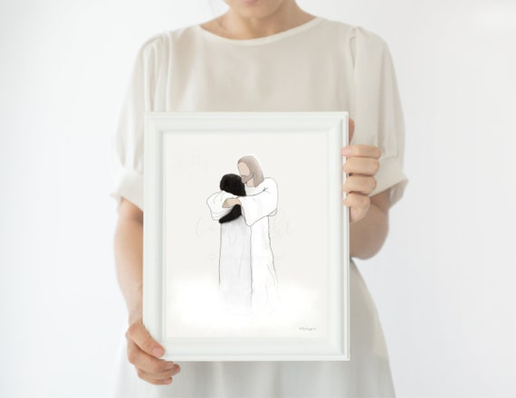 Jesus Embracing Woman, Jesus Christ Art, Instant Download, Printable Memorial Art, Dark Curly Hair, Alternative to Flowers for Funeral, Art