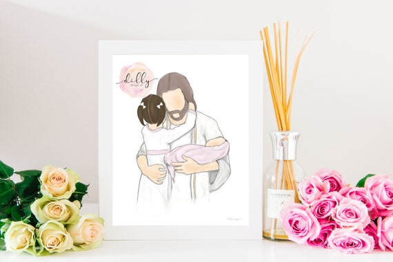 Comforting Art, Jesus Christ, Child with Christ, Baby with Christ, Jesus and Child, Comforting Gift, Religious Gift, Religious Bereavement