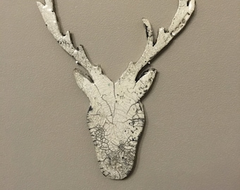 Ceramic raku Bas relief deer, wall decoration