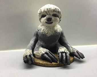 Ceramic raku baby sloth