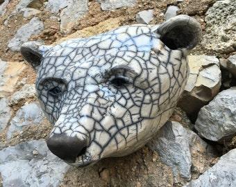 céramic raku Polar bear trophy