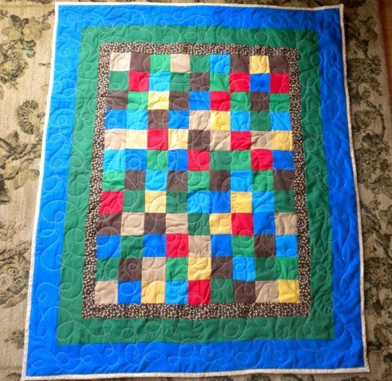 Homemade Pale Blue And Brown Baby Quilt