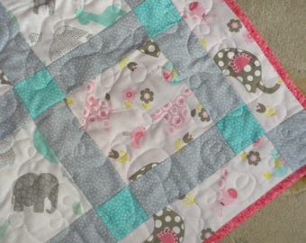 homemade Baby Quilt 41x56 FLANNEL