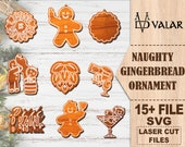 Naughty Gingerbread Ornament Bundle Svg, Christmas SVG Laser Cut Files For Glowforge DigitalContents