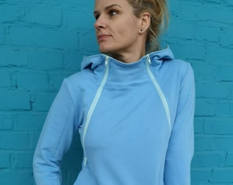 5b35de1b18a37 Nursing hoodie BLUE. Zip-up breastfeeding hoodie. Maternity clothing.