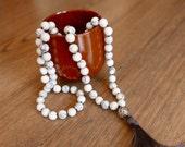 Howlite Handknotted 108 Mala Beads with handmade silver bead/Gray Silk Tassel/mala beads 108/mala/beaded necklace/healing jewelry/malas