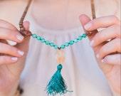 I Am Confident Mala - Handknotted 108 Mala Bead Necklace/ Amazonite Mala/ Sandalwood Mala/ Mala Beads/ 108 Mala/ mala necklace