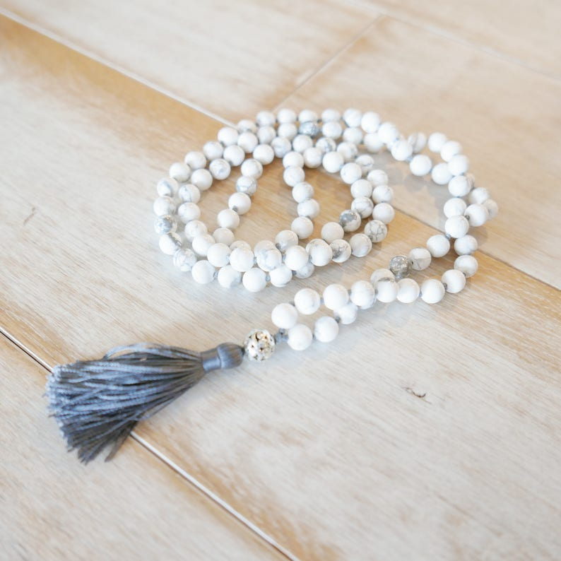 Mala Necklacemala beads 108beaded necklaceprayer beads Calm /& Peace Howlite Handknotted 108 Mala Bead Necklace