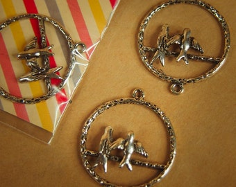 Two Bird Pendant Charms ~2 pieces #100295