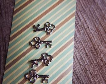 21 Key Pendant Charms ~4 pieces #100372