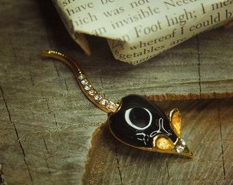 Rat Brooch antique vintage styled, bridesmaid, rhinestone diamante, wedding, mothers gift, men lapel, enamel, hijab #5125