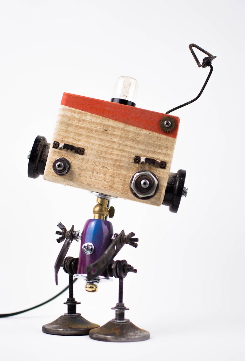 table lamp swivel aluminum recycle vintage brass bedside lamp metal iron wood Robot art robot steampunk
