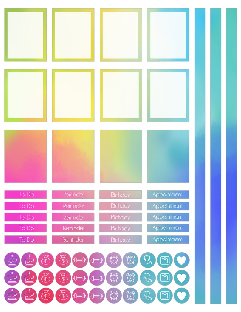 Weekly Rainbow Planner stickers for Erin Condren Happy Planner A5 Personal etc Planners