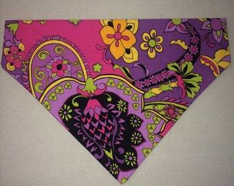 Handmade slip on dog bandana retro paisley