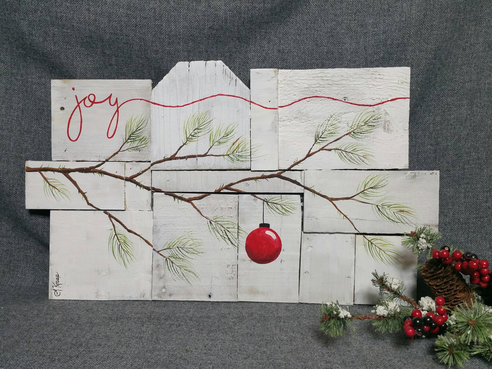 Rustic Christmas Decor Christmas Joy Pallet Art Farmhouse Decor White Wash Wood One Of A Kind Hand Painted Shabby
