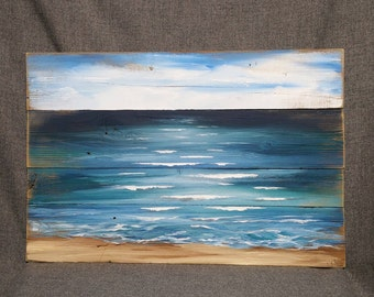 Pallet beach painting, pallet ocean wall art, Beach blues, upcycled, Handmade Seascape horizon, ocean, Distressed, shabby