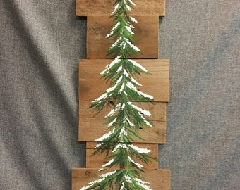 Pine tree, winter greenery, Reclaimed Wood Pallet Art, winter snow, christmas Hand painted, upcycled, Wall art, Distressed