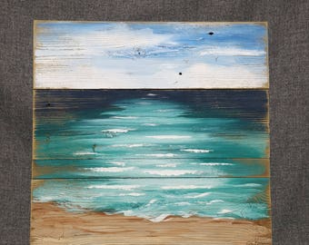 Beach Art seascape, Pallet beach painting, shabby beach, Ocean, reclaimed wood painting, Hand painted, upcycled pallet
