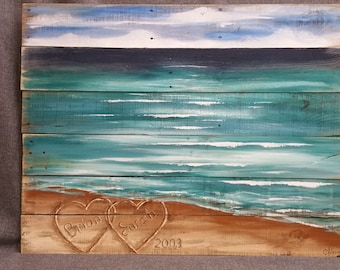 Wood Pallet beach wall Art, BEACH, Personalized Hearts in the Sand, Wedding & Anniversary Gift, Hand painted, Seascape horizon, reclaimed