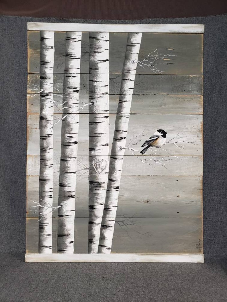 Gray Pallet Art White Birch Painting LARGE Distressed image 0
