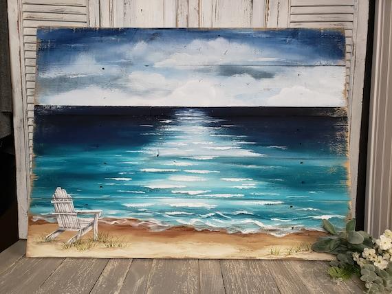 Wood Pallet Beach Wall Art Beach Hand Painted Seascape Etsy
