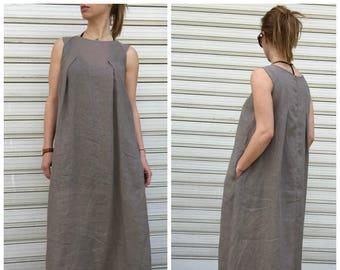 Maxi Linen Dress / Black Maxi Dress / Oversize Women Dress / Loose Elegant Dress /  Extravagant Sleeveless Maxi Dress / EXPRESS SHIPPING