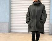Wool Midi Turtleneck Coat Oversized Cape Coat Women Poncho Coat Loose Overall Wool Vest