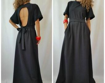 Black Maxi Dress / Short Sleeves Open Back Dress / Black Kaftan / Extravagant Long Dress / Party Dress / Day-wear Dress / EXPRESS SHIPPING