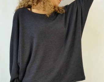 Oversized Women Loose Tunic Top / Dolman Sleeve Maxi Blouse / Long Sleeve Sweater Top