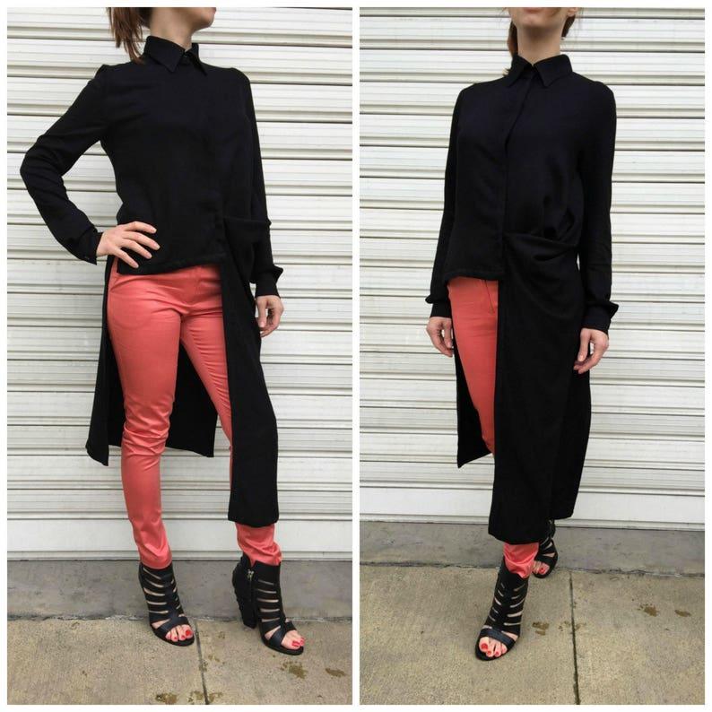 4b0e750d933797 Black Asymmetrical Shirt / Long Sleeves Tunic Dress / Loose | Etsy