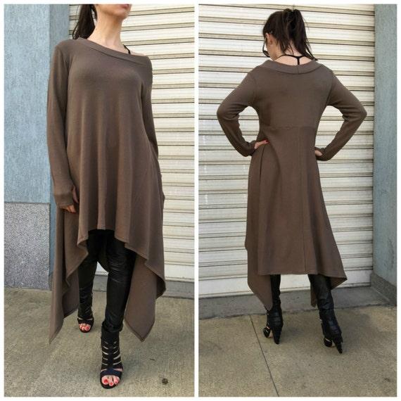 7edc2d71579 Asymmetric Sweater Dress   Long Sleeve Sweater Top  Knitwear