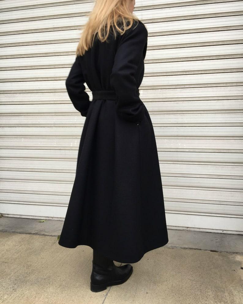 Black Maxi Wool Coat  Oversize Cape Coat  Unique Black High Collar Jacket  Long Sleeved Lined Coat A Different Corner