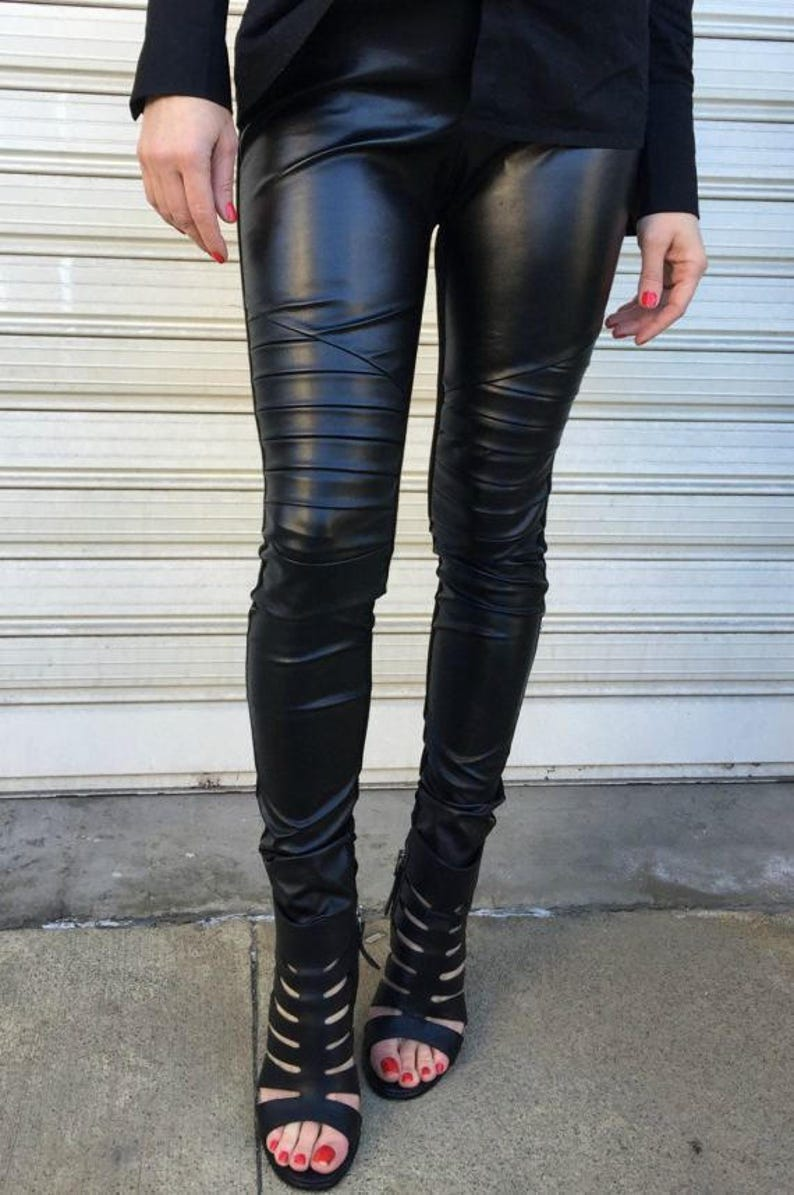 Long Faux Leather Leggings Black Stretch Leggings with Zippers Skinny Leather Pants EXPRESS SHIPPING