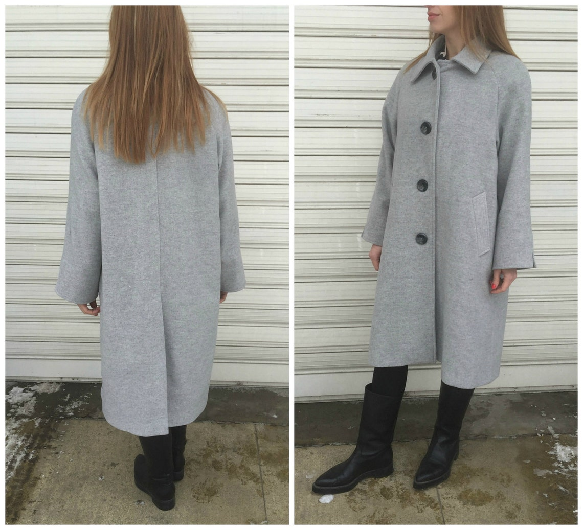 Women Raglan Sleeves Grey Coat With Pockets / Loose Lined Cape Winter Wool Jacket Long Sleeve Trench -