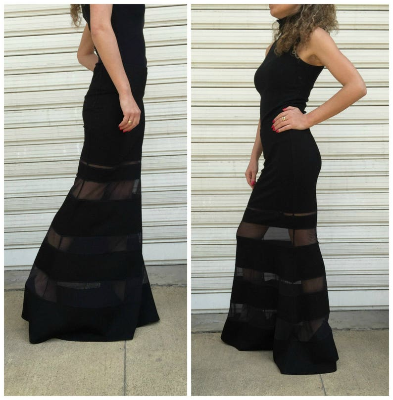 56eb3ae11 Lovely Black Maxi Skirt/ Long Sexy Skirt / Extravagant Skirt | Etsy