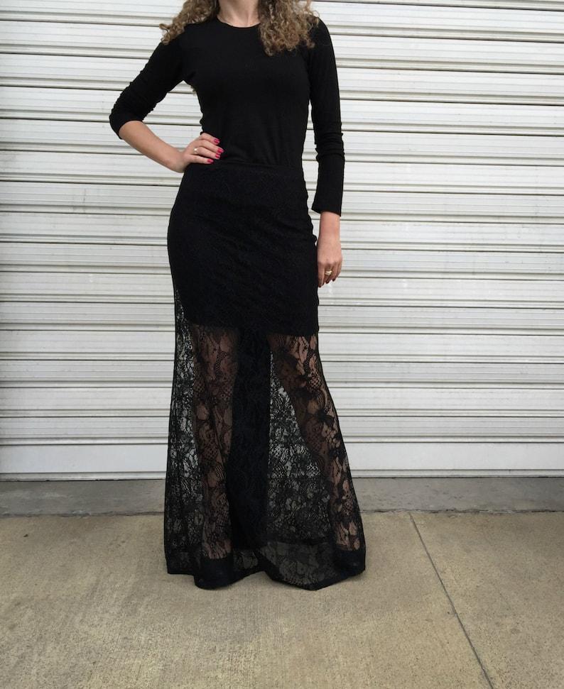 98fc0443c Lovely Black Maxi Skirt/ Long Sexy Lace Skirt / Extravagant | Etsy