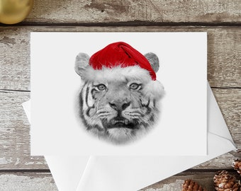 TIGER Christmas Card, greeting card, seasons greetings, tiger art, graphite artwork, pencil drawings, realism, unique, wildlife portraits